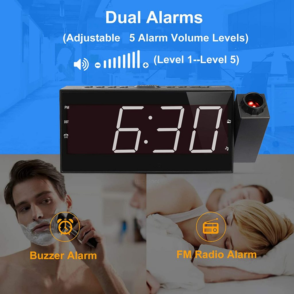 mesqool projection alarm clock with fm radio